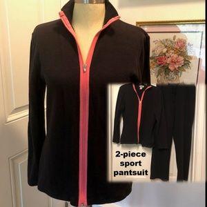Black & Coral Sport Pantsuit